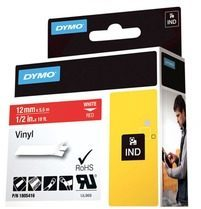 Labeltape DYMO IND RHINO 1805416 Vinyl Tapekleur: Rood Tekstkleur:Wit 12 mm 5.5 m