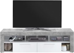 FD Furniture TV Meubel Raymond 180 cm breed - grijs beton met wit