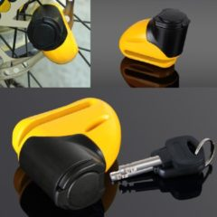 Gele Somultishop Schijfremslot van staal voor motor of fiets, sleutel met LED-verlichting, herinneringskabel
