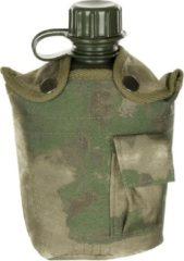 MFH US Army kunststof veldfles, 1 liter, hoes, HDT-camouflage FG, BPA-vrij