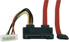 Rode DELTACO SATA-05C, Slim SATA naar 2p Molex 5v + SATA 7p haaks - 50cm