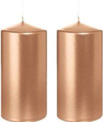 Trend Candles 2x Rosegouden cilinderkaarsen/stompkaarsen 6 x 12 cm 40 branduren - Geurloze rosegoudkleurige kaarsen - Woondecoraties