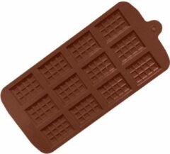 Bruine MTCE Mini Chocoladereep Mold - Chocolate Mold Tablette - Siliconen Chocoladevorm - 12 stuks - Bakvorm - Chocoladereep Silicoon