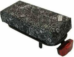 Zwarte Hooodie Big Cushie Blackish Pattern - zacht en stylish fietskussen voor op bagagedrager