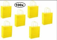 Thema party 100x Papieren koordtas fel geel 18x8x22cm
