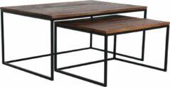 Bruine Raw Materials Factory Salontafel - Set van 2 - 90x60x45 cm - Gerecycled hout