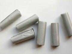 Licht-grijze Merkloos / Sans marque Afvalzak 20 liter - lichtgrijs standaard - 6 rollen van 20 vuilniszakken