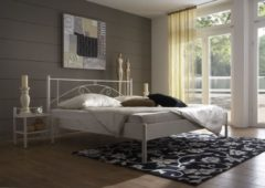 Bed Box Holland Metalen ledikant Fleur 180x200 wit koper