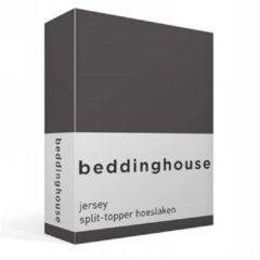 Antraciet-grijze Beddinghouse Jersey Split Topper Hoeslaken - Tweepersoons - 180x200/220 cm - Antraciet