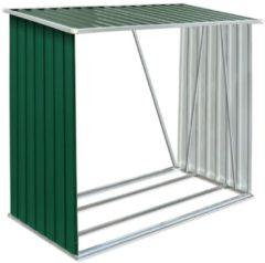 VidaXL Haardhoutschuur 163x83x154 cm gegalvaniseerd staal groen