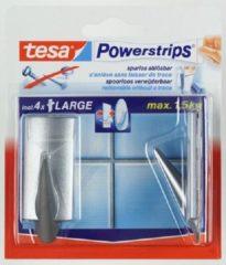 Zilveren 2x Tesa Powerstrips chroom haken large trend - Klusbenodigdheden - Huishouden - Verwijderbare haken - Opplak haken 2 stuks