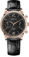 Luxe heren horloge met leren band –horloge waterdicht 5ATM – Vescari – Chestor- rosegoud - Ø 40 mm