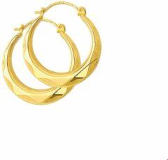Gele Trendjuwelier huiscollectie 4001352 Gouden creolen gefacetteerd 20 mm