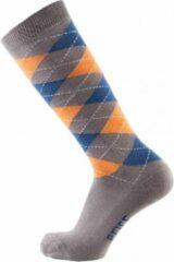 Pfiff sokken - Ruitersokken Grijs - Oranje - Sportsokken - Paardrijden - Unisex sokken - Kniesokken - Maat 34-36