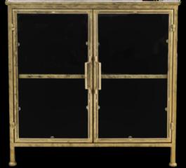 Gouden HSM Collection Vitrinekastje Fletcher - 93x42x90 - Antique Gold - Metaal/glas