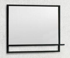 B-Stone Metal zwarte spiegel met planchet 100x70cm