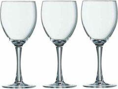 Arcoroc 12x Stuks wijnglazen transparant 190 ml - Wijnglas voor rode of witte wijn op voet