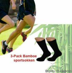 Boru Bamboo 3-Pack Bamboe sportsokken | Kleur zwart | Maat 39-42