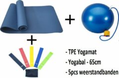 Petasos Fitnesspakket 3-in-1 : TPE Fitnessmat - 183 x 61 x 0.6 cm - Blauw + Weerstandsbanden Set - 5stuks + Fitnessbal - 65cm