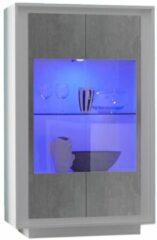 Pesaro Mobilia Vitrinekast SKY 171 cm hoog - Wit met Grijs beton