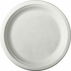 Pure - Disposable Tableware 12x Witte suikerriet dinerbordjes 26 cm biologisch afbreekbaar - Ronde wegwerp bordjes - Pure tableware - Duurzame materialen - Milieuvriendelijke wegwerpservies borden - Ecologisch verantwoord
