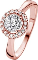New Bling 9NB-0190-52 - Zilveren ring - zirkonia 6 mm - maat 52 - rosékleurig