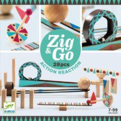 Witte Djeco Zig & Go houten kettingreactiespel 28-delig