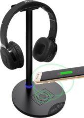 Zwarte New Bee Universele 2-in-1 Headset Stand - Anti-slip - met Draadloos Oplaadstation voor Smartphones - Koptelefoon Houder - Headphone Standaard