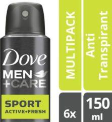 Dove Men+Care Sport Active+Fresh Anti-transpirant Deodorant Spray - 6 x 150 ml - Voordeelverpakking