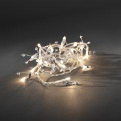 Witte Konstsmide 3180 - Snoerverlichting - 20 lamps LED glasparels - 150 cm - op batterij - voor binnen - warmwit