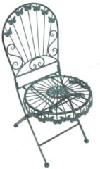 2er Set Dekorationsklappstühle mit Schmetterlingsmotiv antik-grün