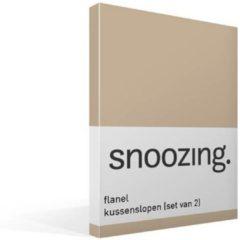 Snoozing flanel kussenslopen (set van 2) - 100% geruwde flanel-katoen - 60x70 cm - Standaardmaat - Camel