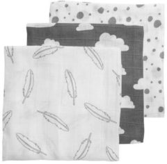 Grijze Meyco - Feather-Clouds-Dots - 3-pack hydrofiele luiers - 70 x 70 cm - Grijs/wit