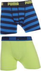 Blauwe Puma - Jongens 2-pack Stripe Print Boxershorts Blauw / Limegroen - 152