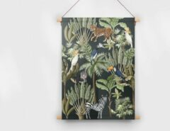 Groene Made on Friday - Textielposter Tropical Black 60x90cm - Kendal (Twill 210 gr./m2)