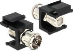 DeLOCK 86352 IEC F Zwart, Zilver kabeladapter/verloopstukje