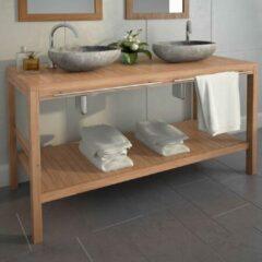 Merkloos / Sans marque Badkamerkast 132x45x75 cm bruin / badkamer kast hout bruin / handdoeken kast badkamer hout / wasbak badkamer kast