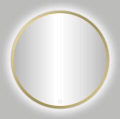 Douche Concurrent Badkamerspiegel Nancy Venetie Rond 100x100cm Mat Goud Geintegreerde LED Verlichting Touch Schakelaar