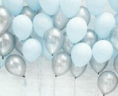 Whoopdeals Luxe Ballonnenset Blauw & Zilver - 25 Stuks - Helium Ballonnen Feest Ballonnen Feestje Verjaardag Babyshower Party Wedding Bruiloft Valentijn