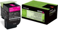 Paarse LEXMARK 802M tonercartridge magenta low capacity 1.000 pagina s 1-pack return program