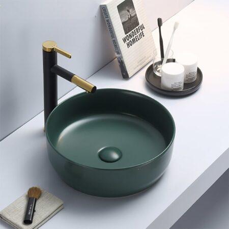 Afbeelding van Bewonen Colour Line opzetwastafel 39cm - jade groen