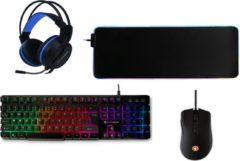 Zwarte Silvergear Gaming Starterskit met Verlichting - 4-in-1 - Gaming Toetsenbord, Gaming Muis, Gaming Muistmat en Gaming Headset