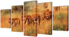 VidaXL Canvas muurdruk set leeuw 200 x 100 cm