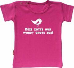 Merkloos / Sans marque Babygoodies T-shirt Ik Word Grote Zus - Deze zotte mus wordt grote zus (Fuchsia 1-2j)