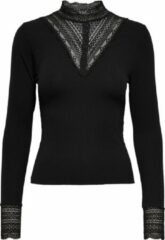Zwarte Only TILDE L/S HIGH NECK LACE Dames Top Maat S