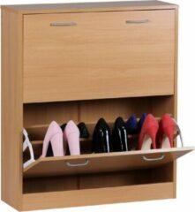 RC Meubels Schoenenkast | Met 2 Kleppen | Voor 12 Paar Schoenen | Van Hout | Modern Design | Bruin