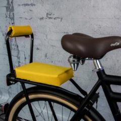 Setje: Bagagedrager-kussen + rug-rolkussentje Ohmiomine Kanarie geel 001