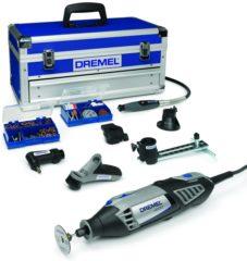 Grijze Dremel Platinum 4000 Multitool - Roterend - 175 Watt - Inclusief 128 accessoires, 6 hulpstukken en luxe aluminium opbergkoffer