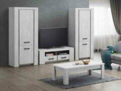 Zwarte Belfurn-TV-wand Elvis in een decor van witte eik bestaande uit Tv-meubel met 2 x kolom volle deur