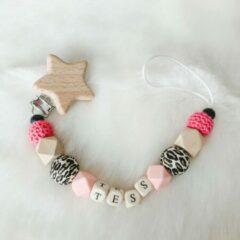 Babybeads - Speenkoord met naam - Roze met tijgerprint